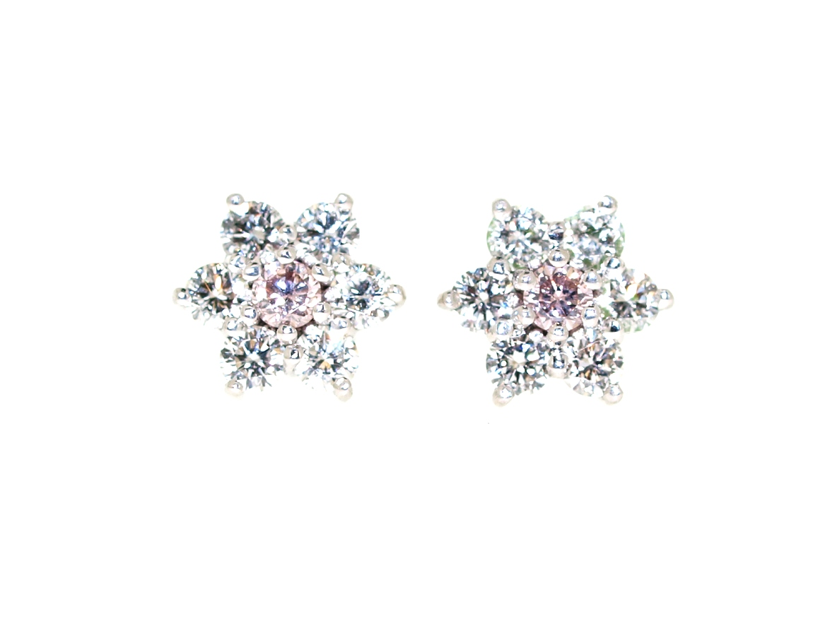 4a67388b5 Custom Made Pieces :: Pink Argyle Diamond, Flower Stud Earrings