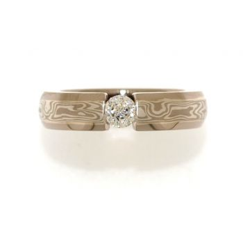 Sterling Silver and White Gold, Mokume Gane Diamond Ring