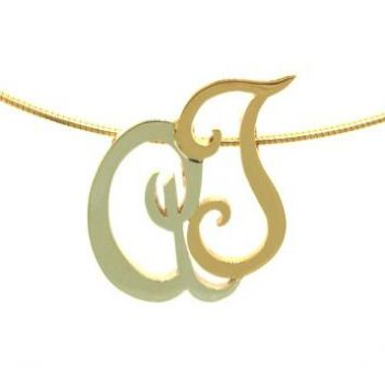 Two Tone, Double Initial Pendant