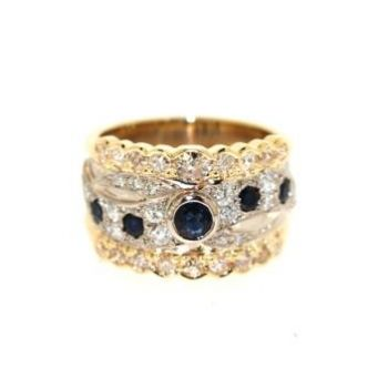 Two Tone, Sapphire and Diamond Ring