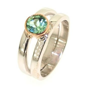 White and Rose Gold, Green Tourmaline Ring