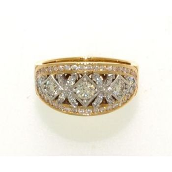 Two Tone, Diamond Set, Domed Ring