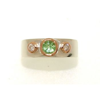 White and Rose Gold, Tourmaline and Diamond Ring