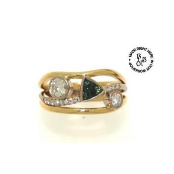 Two Tone, Diamond and Sapphire Ring