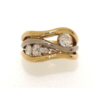 Two Tone, Round and Marquise Diamond Ring