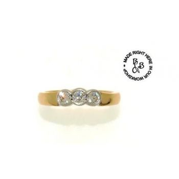 Two Tone, Three Stone, Diamond Set Eternity Ring