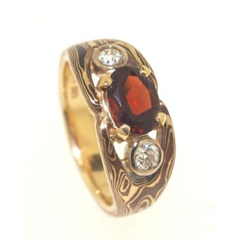 The Burra Mokume Gane Ring with Garnet and Diamonds