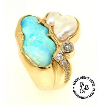 Carved Opal, Pearl and Diamond Gold Ring