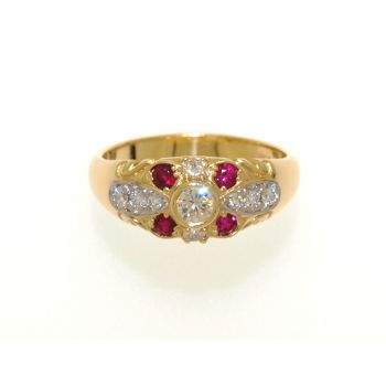 Ruby and Diamond, Gold Ring