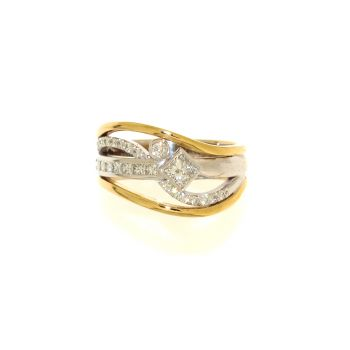 Two Tone, Gold and Diamond, Open Dress Ring